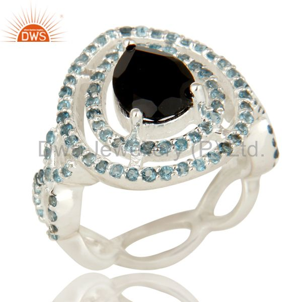 925 Sterling Silver Black Onyx And Blue Topaz Cluster Infinity Ring