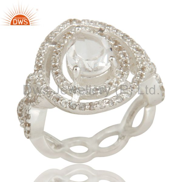 925 Sterling Silver Crystal Quartz And White Topaz Infinity Design Ring