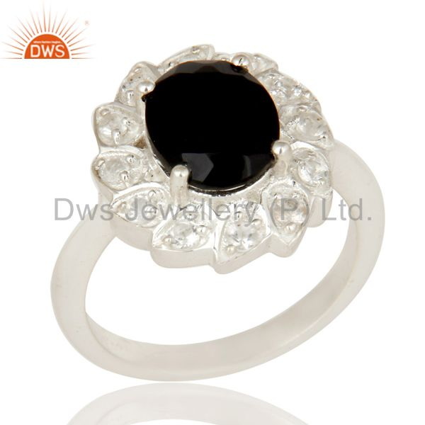 925 Sterling Silver Black Onyx And White Topaz Designer Statement Ring