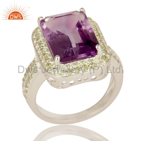 925 Sterling Silver Amethyst And Peridot Gemstone Statement Halo Ring