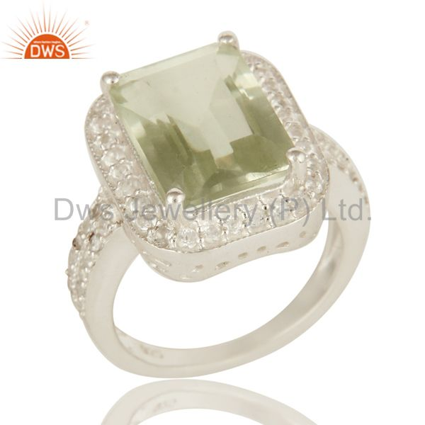 Genuine Green Amethyst And White Topaz Sterling Silver Prong Set Cocktail Ring