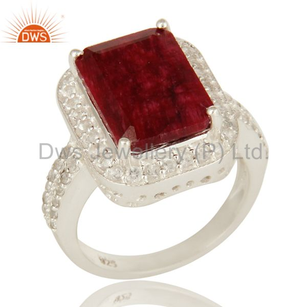 Prong Set Dyed Ruby Red Corundum And White Topaz Sterling Silver Cocktail Ring