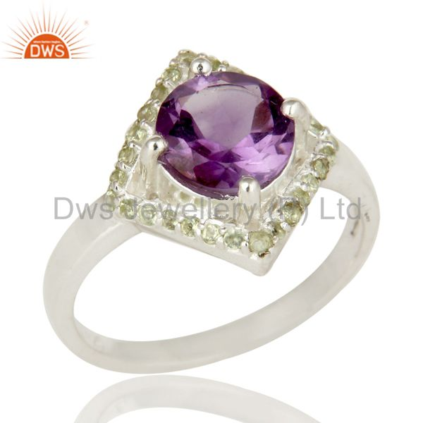 925 Sterling Silver Amethyst and Peridot Gemstone Cocktail Ring