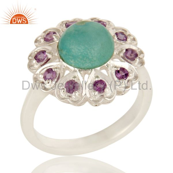 925 Sterling Silver Amethyst And Turquoise Gemstone Designer Cocktail Ring