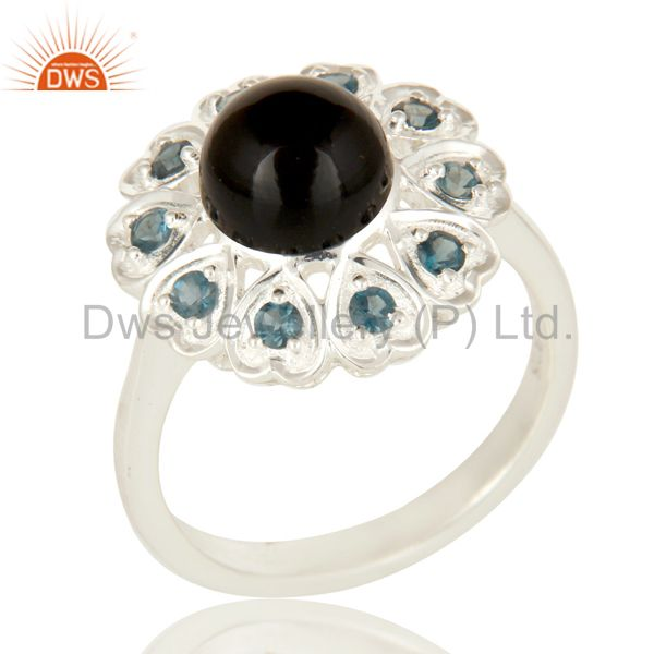 925 Sterling Silver Black Onyx And Blue Topaz Gemstone Cocktail Ring