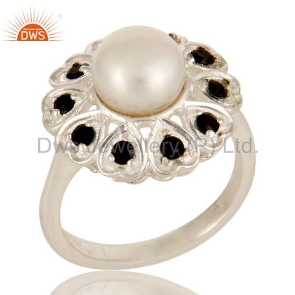 925 Sterling Silver Natural White Pearl And Black Spinel Flower Cocktail Ring