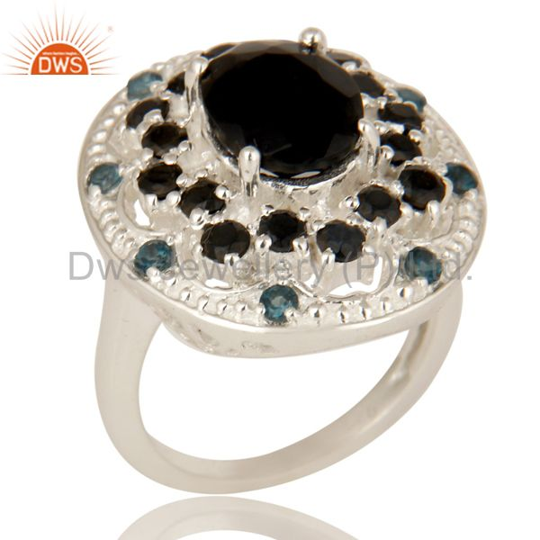 925 Sterling Silver Black Onyx And Blue Topaz Gemstone Cluster Statement Ring