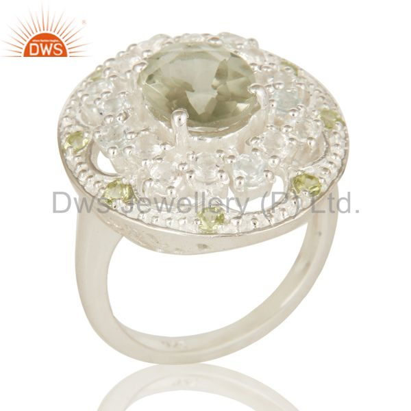 925 Sterling Silver Green Amethyst, Peridot And White Topaz Ring
