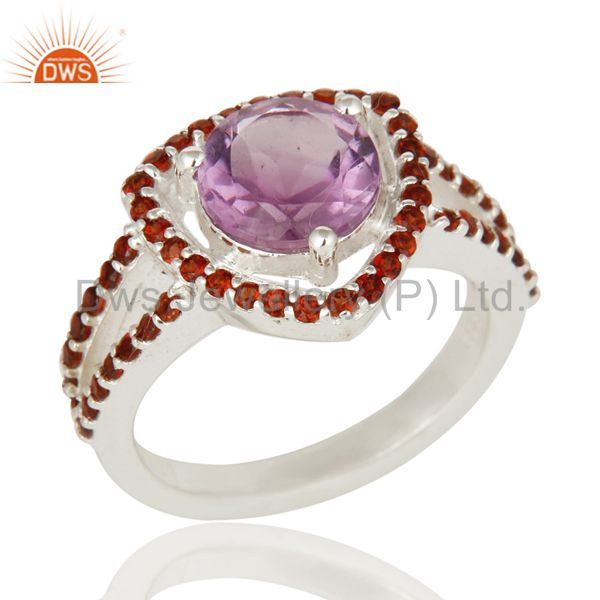 Round Cut Amethyst And Garnet 925 Sterling Silver Engagement Halo Ring Jewelry