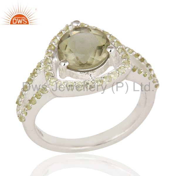 925 Sterling Silver Peridot And Green Amethyst Gemstone Cluster Cocktail Ring