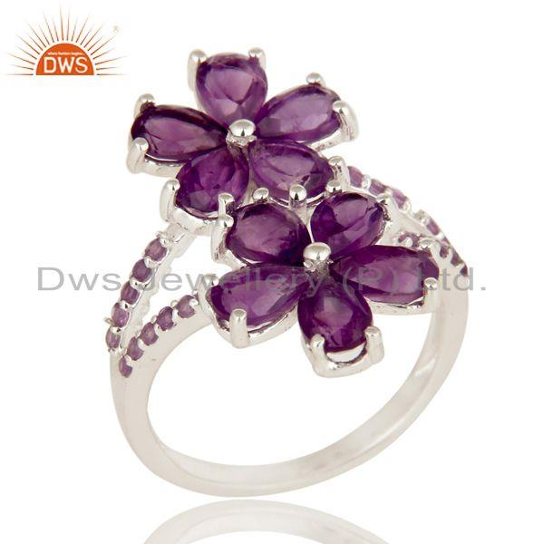 925 Sterling Silver Natural Amethyst Gemstone Prong Set Flower Statement Ring