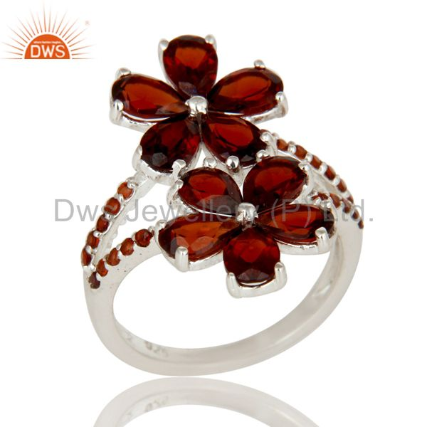 925 Sterling Silver Garnet Gemstone Flower Design Solitaire Statement Ring