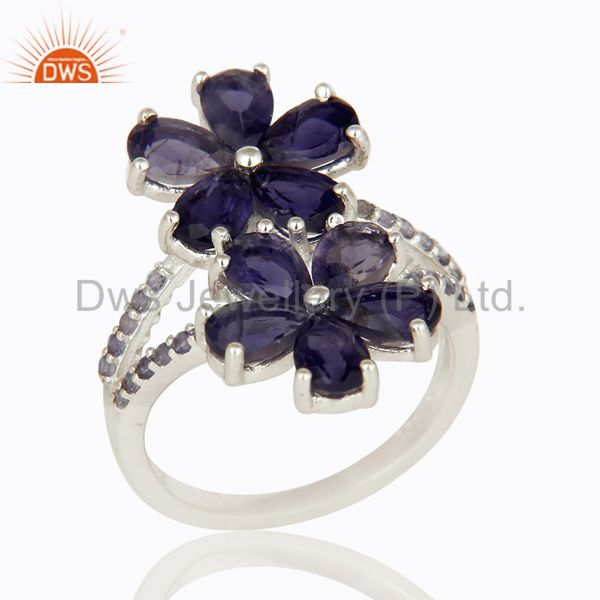 925 Sterling Silver Iolite Gemstone Flower Statement Ring