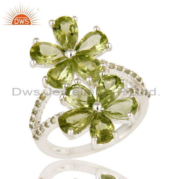 925 Sterling Silver Peridot And White Topaz Flower Cocktail Ring