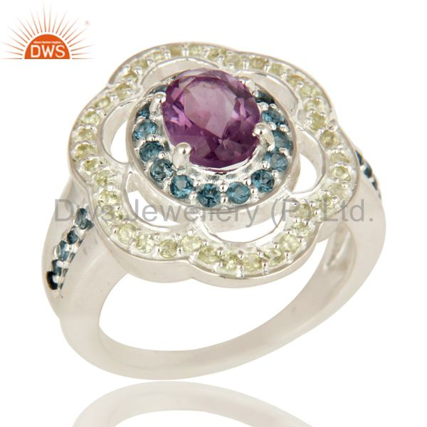 Amethyst, Blue Topaz And Peridot Sterling Silver Halo Gemstone Cocktail Ring