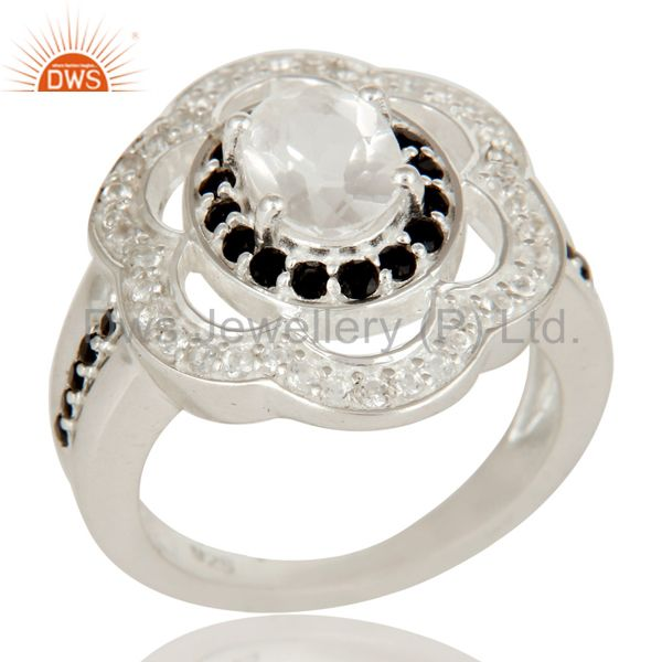 925 Sterling Silver Crystal Quartz And Black Spinel Halo Style Statement Ring