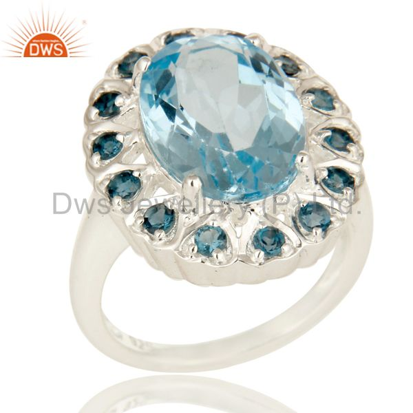 925 Sterling Silver Blue Topaz Gemstone Prong Set Statement Ring