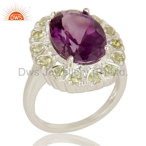 925 Sterling Silver Amethyst And Peridot Gemstone Halo Solitaire Ring