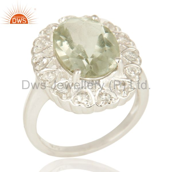Natural Green Amethyst Sterling Silver Gemstone Halo Ring With White Topaz