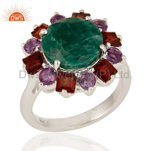925 Sterling Silver Green Corundum Amethyst And Garnet Gemstone Cocktail Ring