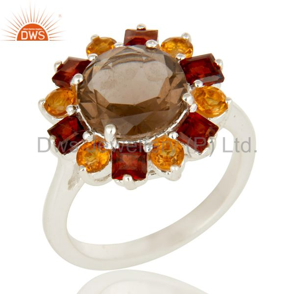 Citrine, Garnet And Smoky Quartz Cocktail Ring Made In Sterling Silver