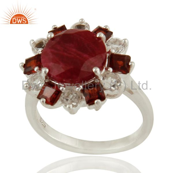 925 Sterling Silver Garnet And Red Corundum Cocktail Ring With White Topaz