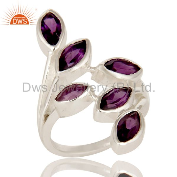 925 Sterling Silver Purple Amethyst Gemstone Marquise Cut Statement Ring