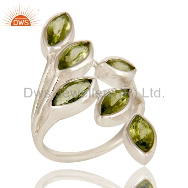 Natural Peridot Gemstone Statement Ring Made In Sterling Silver