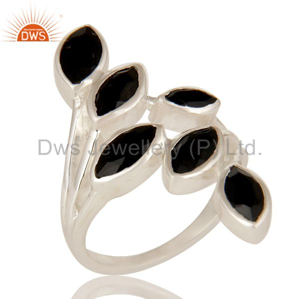 925 Sterling Silver Black Onyx Gemstone Designer Statement Ring