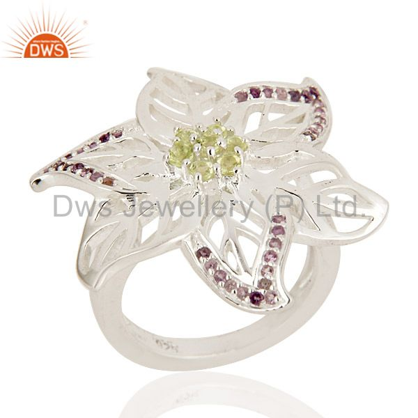 925 Sterling Silver Natural Amethyst And Peridot Gemstone Leaf Cocktail Ring
