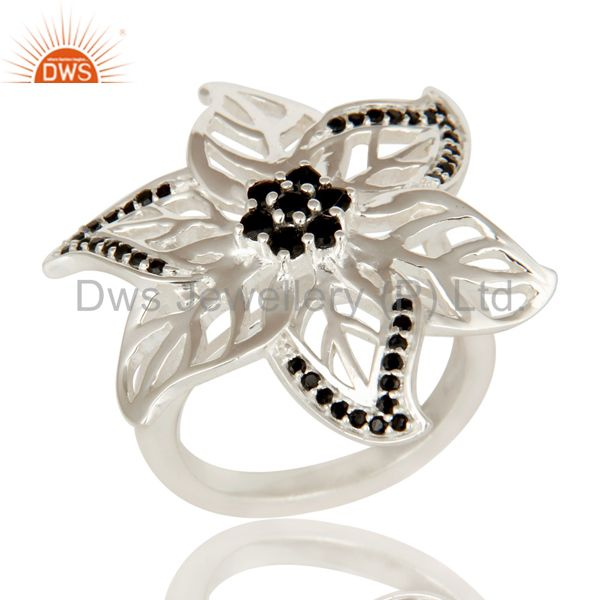 Solid 925 Sterling Silver Black Onyx Gemstone Leaf Design Cocktail Ring