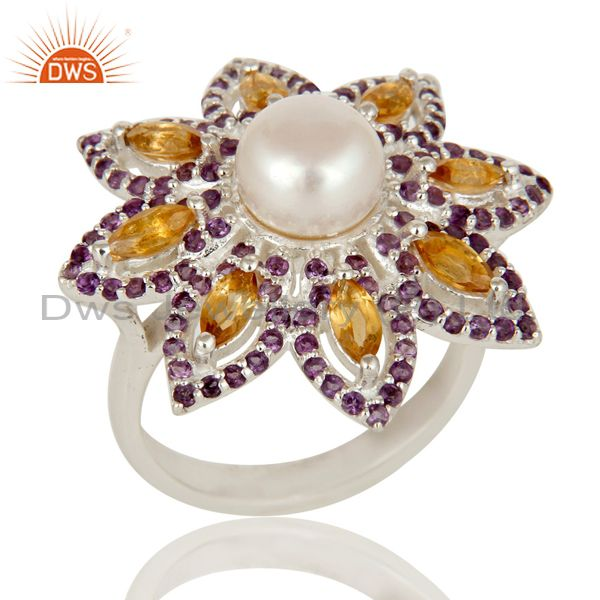 Pearl, Amethyst and Citrine Sterling Silver Flower Design Cocktail Ring