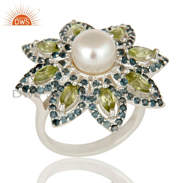 Pearl, Peridot and Blue Topaz Sterling Silver Flower Design Cocktail Ring