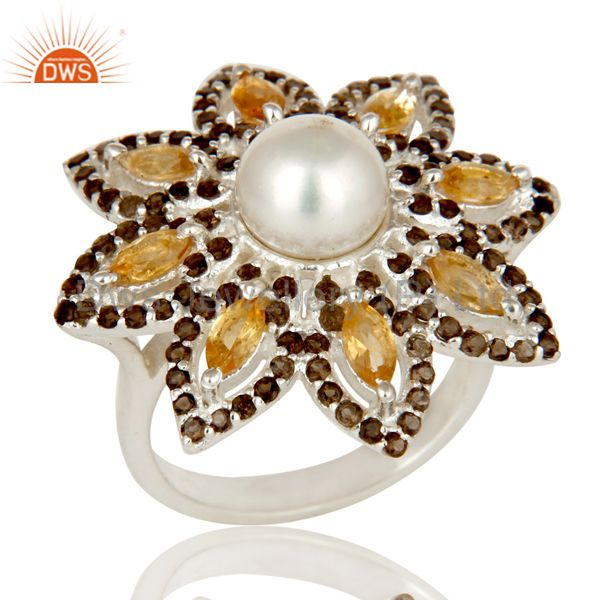 Sterling Silver Pearl Citrine and Smokey Quartz Flower Design Cocktail Ring