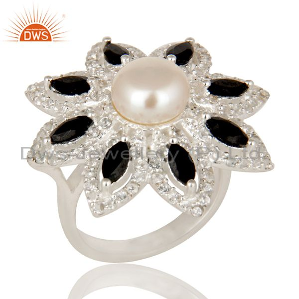 Pearl, Black Onyx And White Topaz Sterling Silver Flower Design Cocktail Ring