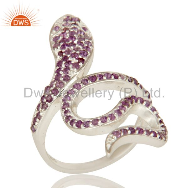 925 Sterling Silver Natural Amethyst Gemstone Pave Set Snake Statement Ring