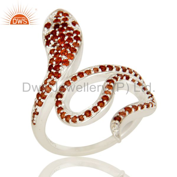 925 Sterling Silver Snake Ring Studded with Natural Garnet Gemstone
