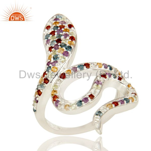925 Sterling Silver Snake Ring Studded with Natural Multi Gemstone