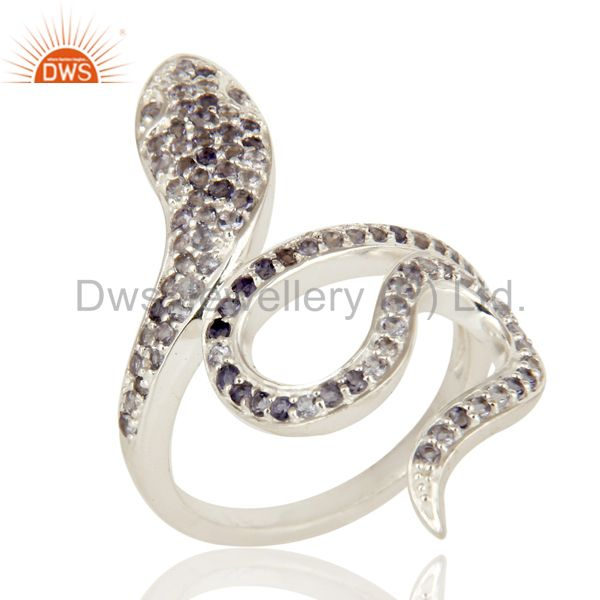 925 Sterling Silver Iolite Gemstone Snake Design Knuckle Ring