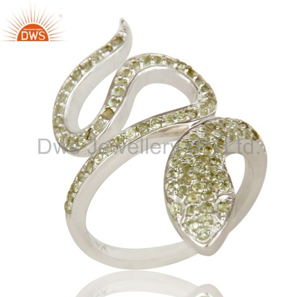 925 Sterling Silver Peridot Gemstone Handmade Snake Design Knuckle Ring