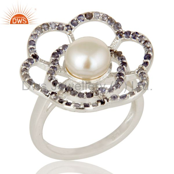 925 Sterling Silver Natural White Pearl And Iolite Gemstone Flower Cocktail Ring