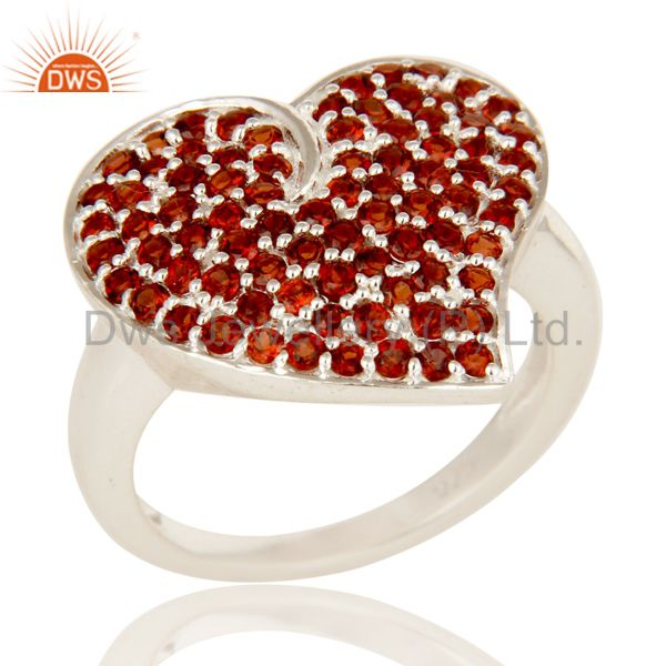 925 Sterling Silver Natural Garnet Pave Set Heart Design Ring For Womens Gift