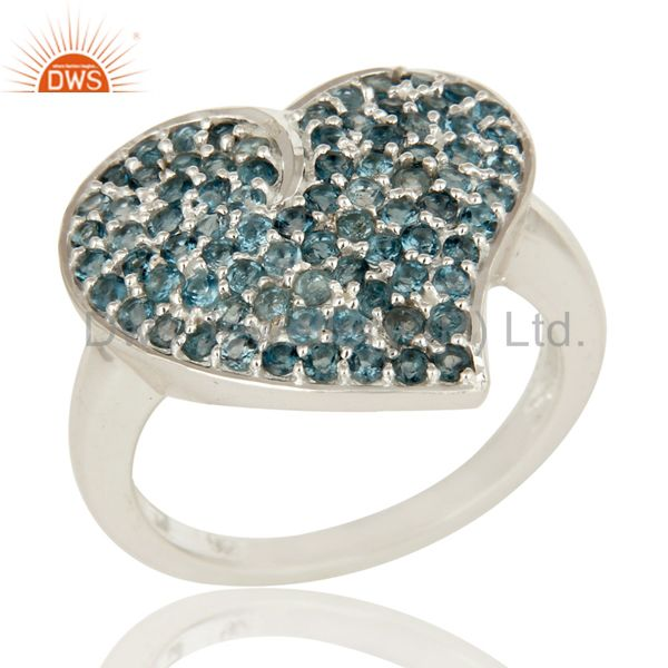 925 Sterling Silver Blue Topaz Gemstone Heart Design Cluster Ring