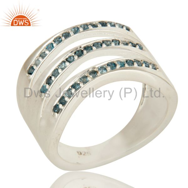 925 Solid Sterling Silver Natural Blue Topaz Gemstone Dome Ring