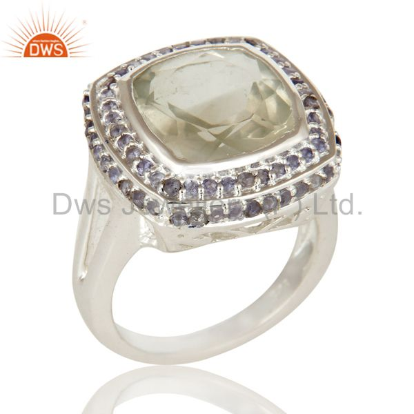 925 Sterling Silver Green Amethyst and Iolite Gemstone Statement Ring