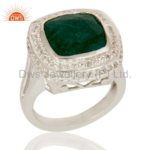 Emerald Green Corundum And White Topaz Sterling Silver Cocktail Ring