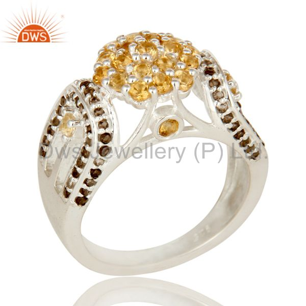 925 Sterling Silver Citrine And Smoky Quartz Gemstone Designer Ring