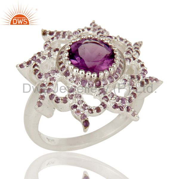 925 Sterling Silver Natural Amethyst Gemstone Cocktail Ring Designer Jewelry