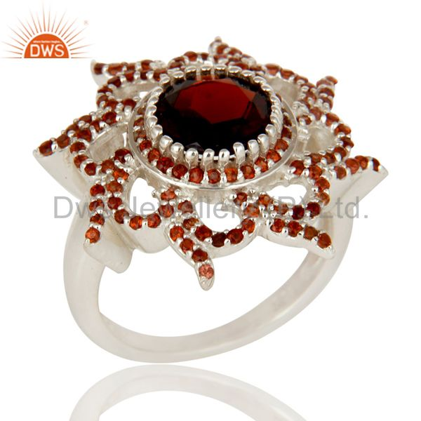 925 Sterling Silver Natural Garnet Gemstone Cocktail Ring Designer Jewelry