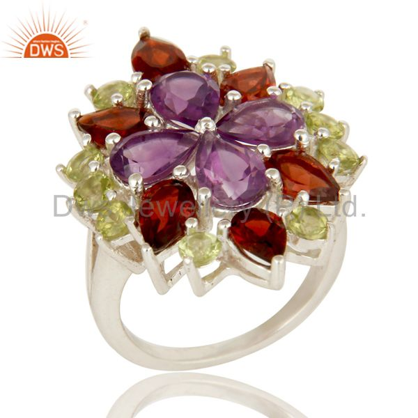 Natural Amethyst Garnet Peridot 925 Sterling Silver Ring Personalized Jewelry